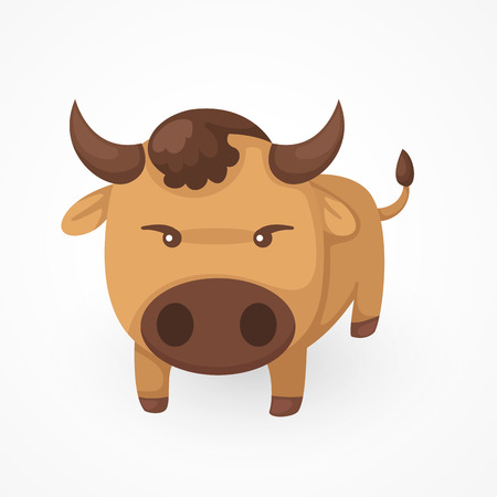 funny ox: illustration of isolated yak vector Illustration