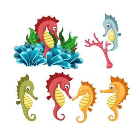 Illustrator of isolated sea horse vector