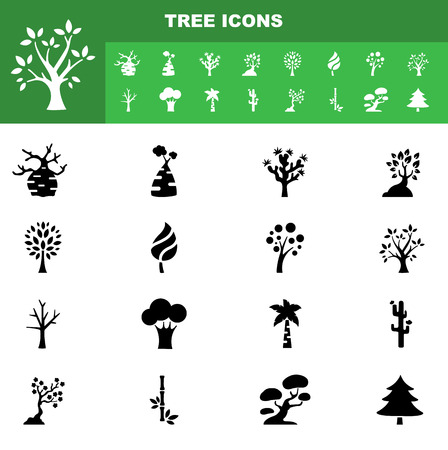 illustration of tree icon set vector Vector