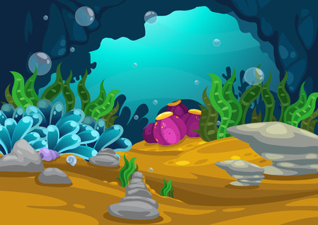 scenes: Illustration of under the sea background vector