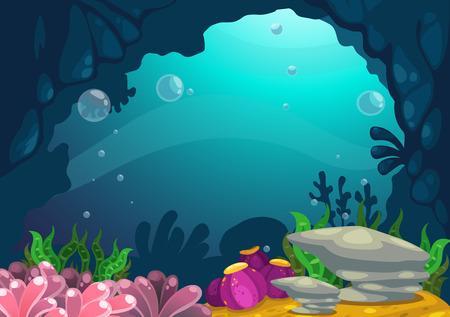 海の背景ベクトルの下のイラスト  イラスト・ベクター素材