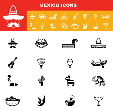 pinata: illustration of mexico icons vector