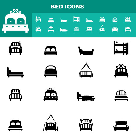 breakfast in bed: Illustration of bed icons vector