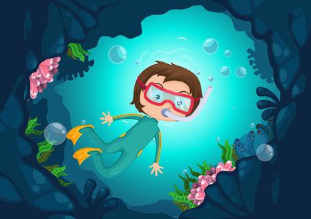 beach boy: illustration of boy scuba diving vector