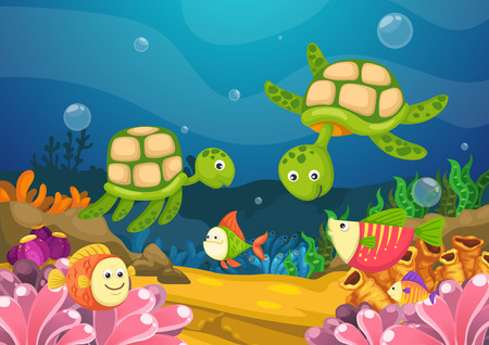 Illustration of marine life under the sea vector Vector