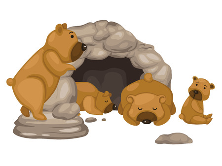 cueva: ilustración del vector del oso Vectores