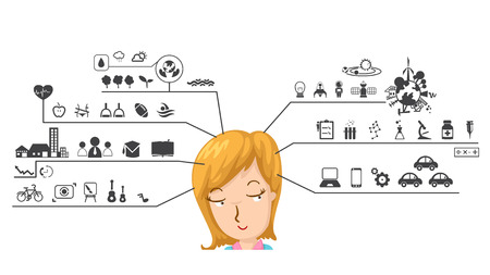 functions: illustration of human with left and right brain functions icon Illustration