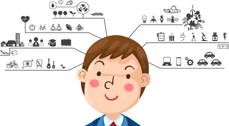 illustration of human with left and right brain functions icon Illustration