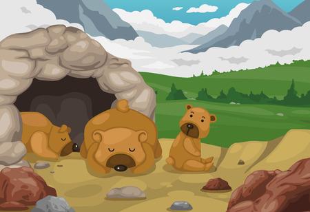 illustration of bear on mountains landscape background vector Vector