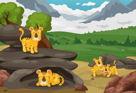 stone arch: illustration of tiger on mountains landscape background vector Illustration