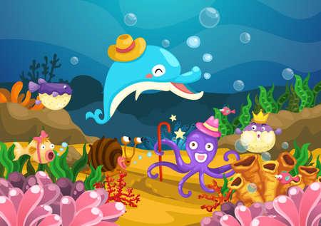convivencia escolar: Ilustración de la vida marina bajo el vector mar Vectores