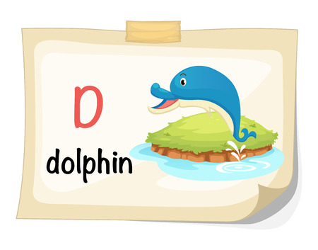 Illustration of animal alphabet letter D for dolphin illustration vector Vector