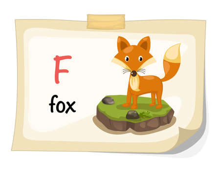 Illustration of animal alphabet letter F for fox illustration vector