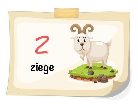 baby goat: Illustration of animal alphabet letter z for ziege illustration vector