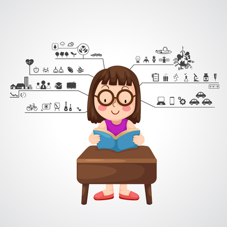 functions: Illustration of young girl with left and right brain functions icon