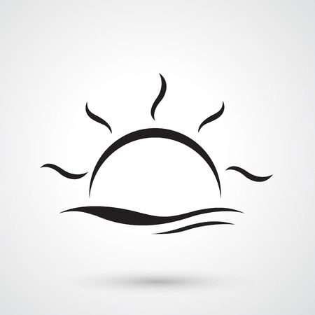 Illustration of sunset and water waves vector  イラスト・ベクター素材