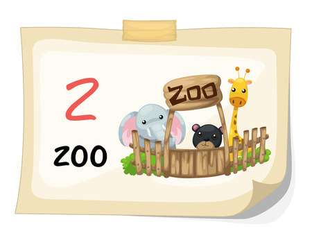 bush babies: Illustration of animal alphabet letter Z for zoo