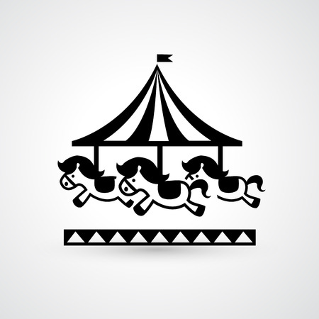 round: Illustration of vintage merry-go-round carousel icon vector