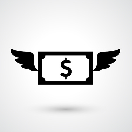 wings icon: Illustration of dollar icon vector