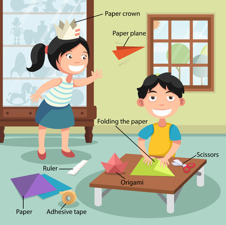 paper folding: Illustration of children folding the paper, vector with vocabulary