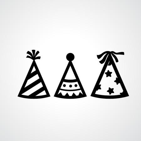 compleanno: Illustrazione di partito icone cappello vettore