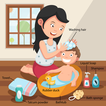showering: Mother washing her child hair