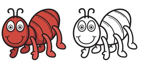 hormiga caricatura: Ilustraci�n de hormiga colorido y negro y blanco aisladas de libro para colorear vector