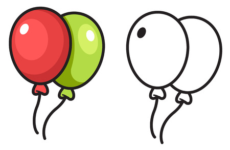 Illustration of isolated colorful and black and white balloon for coloring book vector Illustration