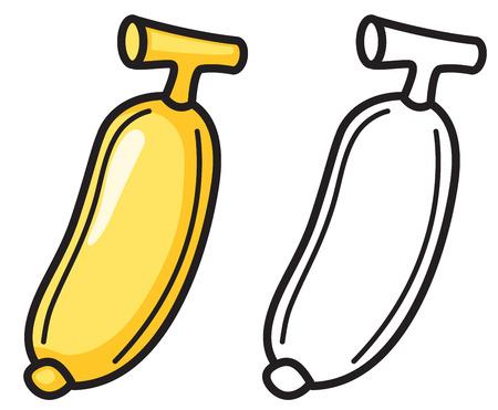 Ilustración De Plátano Colorido Y Negro Y Blanco Aisladas De Libro ...