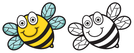 hunny: Illustration of isolated colorful and black and white bee for coloring book vector