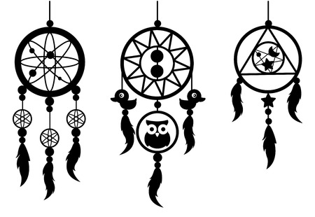 swelled: illustration of Indian dream catcher vector
