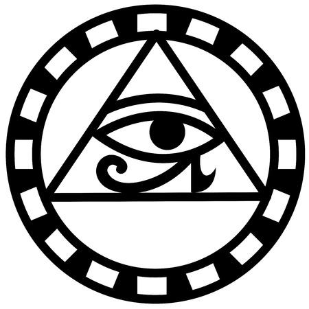 ojo de horus: Ilustraci�n de ojo egipcio de Horus icono vector Vectores