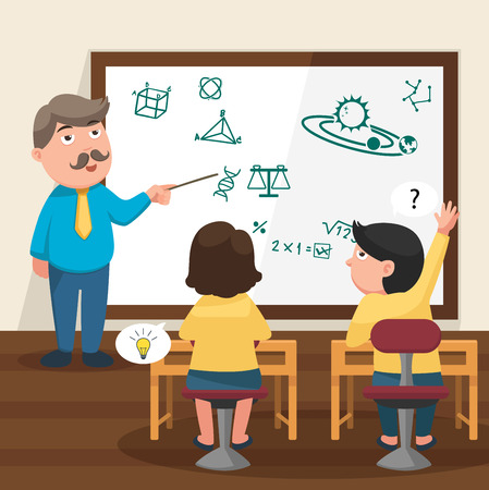 children in class: The teacher teaching his students in the classroom illustration, vector