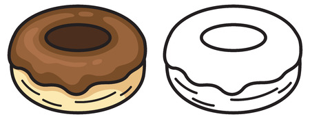 kine: illustration of isolated colorful and black and white donut for coloring book