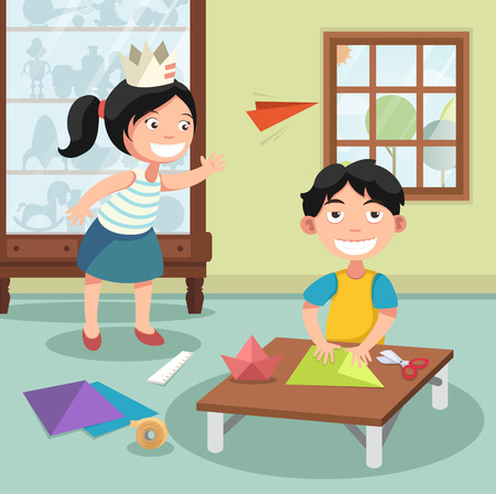 playroom: Illustration of children folding the paper,vector