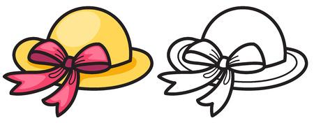 sophistication: ilustraci�n de sombrero de colores y blanco y negro aislado de libro para colorear