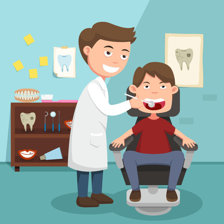tooth pain: The idea of the doctor performing physical examination illustration, vector Illustration