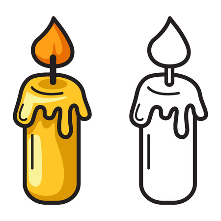 memorial candle: illustration of isolated colorful and black and white candle for coloring book Illustration
