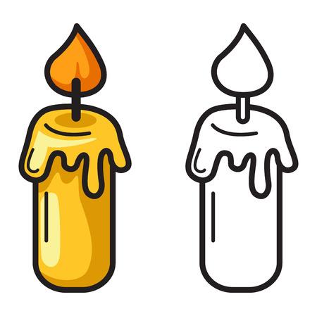 luz de velas: ilustración de velas de colores y blanco y negro aislado de libro para colorear