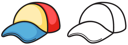 brim: illustration of isolated colorful and black and white cap for coloring book