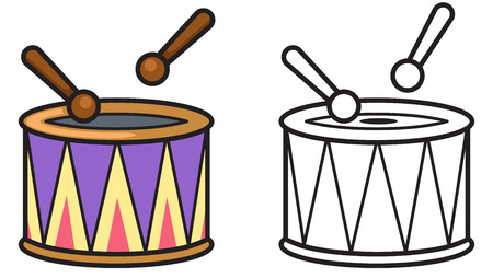 tercet: illustration of isolated colorful and black and white drum for coloring book