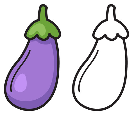 pocket book: illustration of isolated colorful and black and white eggplant for coloring book Illustration