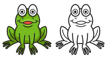 frog green: illustration of isolated colorful and black and white frog for coloring book Illustration