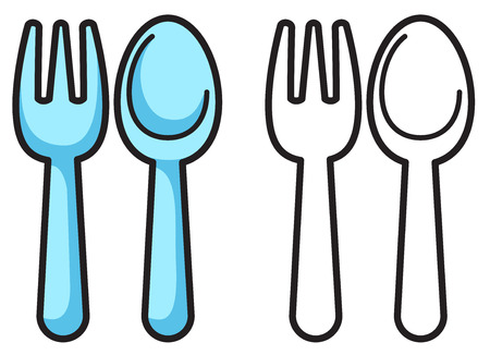 illustration of isolated colorful and black and white fork and spoon for coloring book