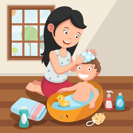 showering: Mother washing her child