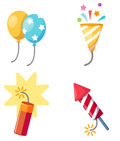popper: Holiday set firecracker,balloon,popper party isolated vector illustration