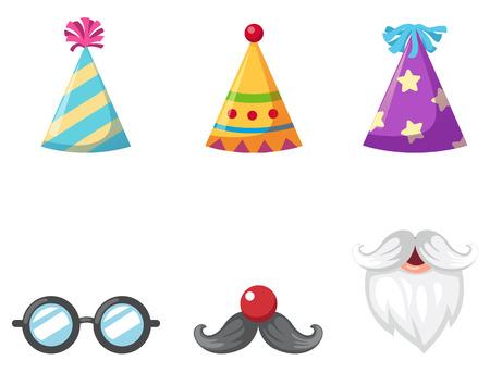Parti chapeau et des lunettes et une moustache isolé illustration vectorielle Vecteurs