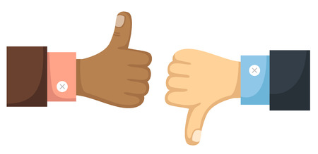 thumbs down: Thumbs up and down vector Illustration