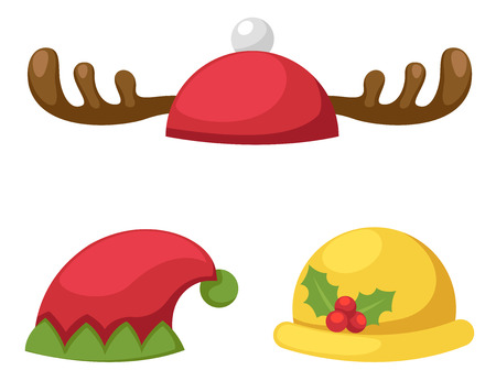 party horn blower: hat set isolated vector illustration