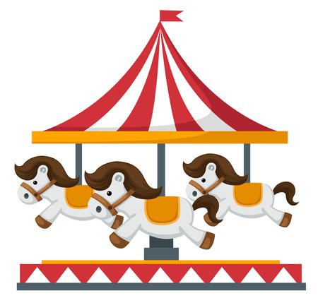 Illustratie van geïsoleerde vintage merry-go-round carrousel vector Stock Illustratie